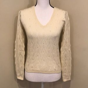 Loro Piana 100% Cashmere Jewel Embellished Sweater